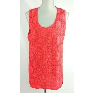 Alberto Makali Sleeveless Lace Red Blouse XL